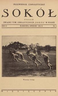 """Przewodnik Gimnastyczny """"Sokół"""" : organ Związku Tow. Gimnastycznych """"Sokół"""" w Polsce. R.51 (1934), nr4"""