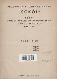 """Przewodnik Gimnastyczny """"Sokół"""" : organ Związku Towarzystw Gimnastycznych """"Sokół"""" w Polsce. R.52 (1935), Spis treści"""