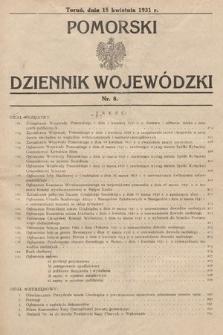 Pomorski Dziennik Wojewódzki. 1931, nr8