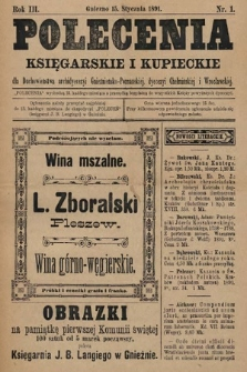 Polecenia Księgarskie iKupieckie : dla duchowieństwa archidyecezyi Gnieźnieńsko-Poznańskiej, dyecezyi Chełmińskiej iWrocławskiej. 1891, nr1