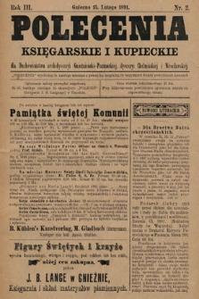 Polecenia Księgarskie iKupieckie : dla duchowieństwa archidyecezyi Gnieźnieńsko-Poznańskiej, dyecezyi Chełmińskiej iWrocławskiej. 1891, nr2