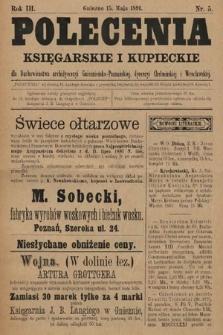 Polecenia Księgarskie iKupieckie : dla duchowieństwa archidyecezyi Gnieźnieńsko-Poznańskiej, dyecezyi Chełmińskiej iWrocławskiej. 1891, nr5