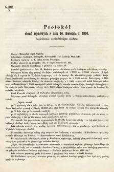 [Kadencja I, sesja III, pos.67] Protokoły z 3. Sesyi I. Peryodu Sejmu Krajowego Królestwa Galicyi i Lodomeryi wraz z Wielkiem Księstwem Krakowskiem z roku 1865/6. Protokół67