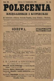 Polecenia Księgarskie iKupieckie : dla duchowieństwa archidyecezyi Gnieźnieńsko-Poznańskiej, dyecezyi Chełmińskiej iWrocławskiej. 1891, nr10