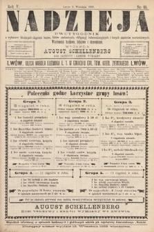 Nadzieja : dwutygodnik zwykazem bieżących ciągnień losów, listów zastawnych, obligacyj indemnizacyjnych innych papierów wartościowych : wiadomości bankowe, kolejowe, ekonomiczne. 1889, nr95