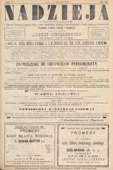 Nadzieja : dwutygodnik zwykazem bieżących ciągnień losów, listów zastawnych, obligacyj indemnizacyjnych innych papierów wartościowych : wiadomości bankowe, kolejowe, ekonomiczne. 1889, nr96