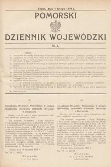 Pomorski Dziennik Wojewódzki. 1929, nr7