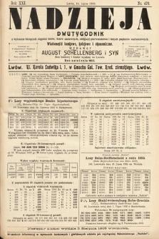 Nadzieja : dwutygodnik zwykazem bieżących ciągnień losów, listów zastawnych, obligacyj indemnizacyjnych innych papierów wartościowych : wiadomości bankowe, kolejowe, ekonomiczne. 1905, nr476