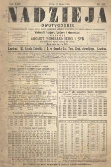 Nadzieja : dwutygodnik zwykazem bieżących ciągnień losów, listów zastawnych, obligacyj indemnizacyjnych innych papierów wartościowych : wiadomości bankowe, kolejowe, ekonomiczne. 1906, nr490
