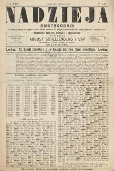 Nadzieja : dwutygodnik zwykazem bieżących ciągnień losów, listów zastawnych, obligacyj indemnizacyjnych innych papierów wartościowych : wiadomości bankowe, kolejowe, ekonomiczne. 1906, nr494