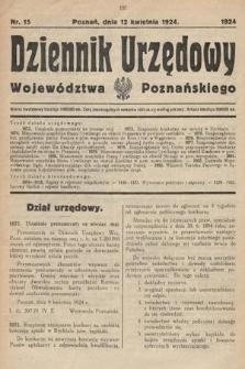Dziennik Urzędowy Województwa Poznańskiego. 1924, nr15