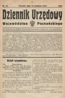 Dziennik Urzędowy Województwa Poznańskiego. 1924, nr16