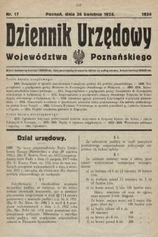 Dziennik Urzędowy Województwa Poznańskiego. 1924, nr17