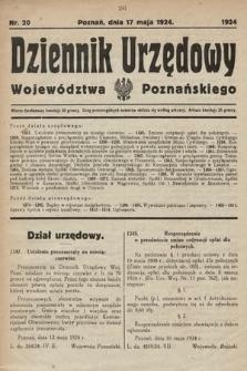 Dziennik Urzędowy Województwa Poznańskiego. 1924, nr20