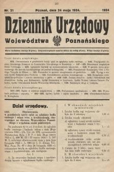Dziennik Urzędowy Województwa Poznańskiego. 1924, nr21
