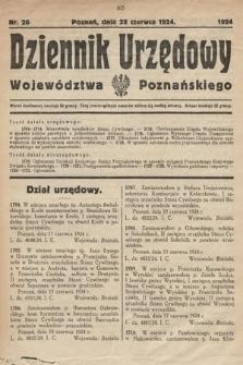 Dziennik Urzędowy Województwa Poznańskiego. 1924, nr26