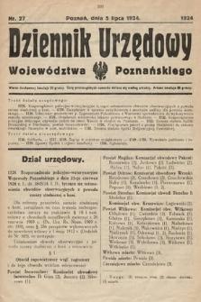 Dziennik Urzędowy Województwa Poznańskiego. 1924, nr27