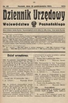 Dziennik Urzędowy Województwa Poznańskiego. 1924, nr43