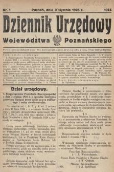 Dziennik Urzędowy Województwa Poznańskiego. 1925, nr1
