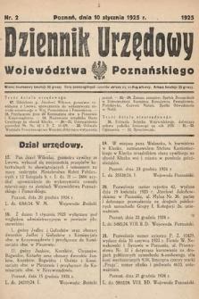 Dziennik Urzędowy Województwa Poznańskiego. 1925, nr2