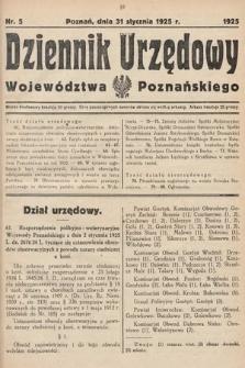 Dziennik Urzędowy Województwa Poznańskiego. 1925, nr5