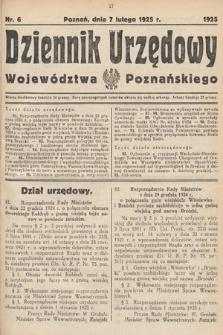 Dziennik Urzędowy Województwa Poznańskiego. 1925, nr6