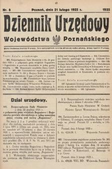 Dziennik Urzędowy Województwa Poznańskiego. 1925, nr8
