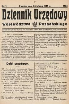 Dziennik Urzędowy Województwa Poznańskiego. 1925, nr9