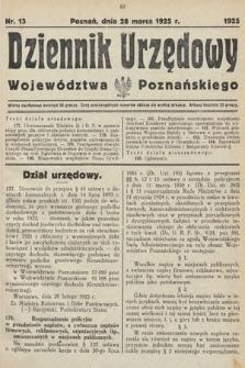 Dziennik Urzędowy Województwa Poznańskiego. 1925, nr13