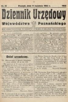 Dziennik Urzędowy Województwa Poznańskiego. 1925, nr15