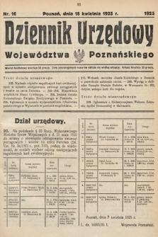 Dziennik Urzędowy Województwa Poznańskiego. 1925, nr16