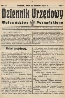 Dziennik Urzędowy Województwa Poznańskiego. 1925, nr17