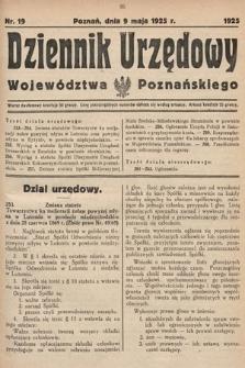Dziennik Urzędowy Województwa Poznańskiego. 1925, nr19