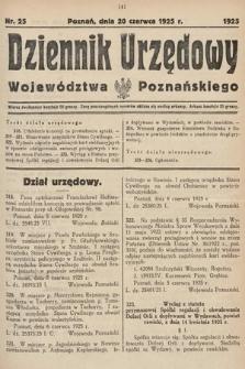 Dziennik Urzędowy Województwa Poznańskiego. 1925, nr25