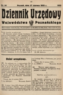 Dziennik Urzędowy Województwa Poznańskiego. 1925, nr26