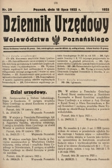 Dziennik Urzędowy Województwa Poznańskiego. 1925, nr29