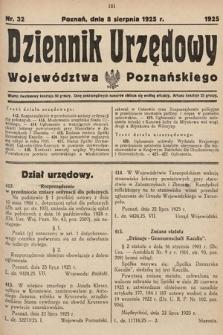 Dziennik Urzędowy Województwa Poznańskiego. 1925, nr32