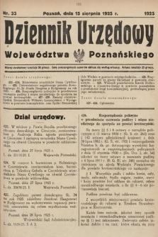 Dziennik Urzędowy Województwa Poznańskiego. 1925, nr33