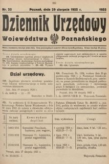 Dziennik Urzędowy Województwa Poznańskiego. 1925, nr35