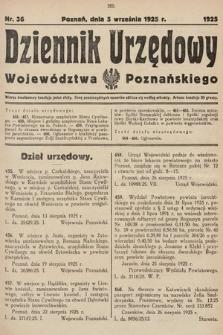 Dziennik Urzędowy Województwa Poznańskiego. 1925, nr36
