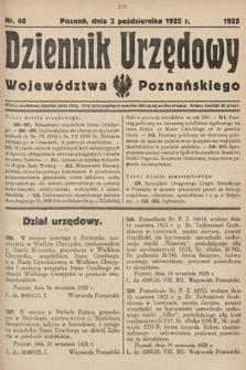 Dziennik Urzędowy Województwa Poznańskiego. 1925, nr40