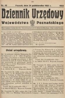 Dziennik Urzędowy Województwa Poznańskiego. 1925, nr43