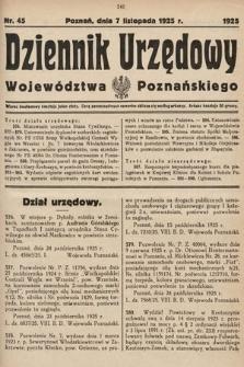 Dziennik Urzędowy Województwa Poznańskiego. 1925, nr45