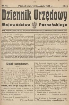Dziennik Urzędowy Województwa Poznańskiego. 1925, nr46