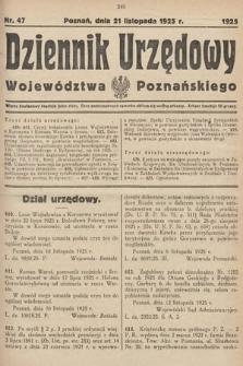 Dziennik Urzędowy Województwa Poznańskiego. 1925, nr47