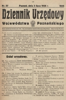 Dziennik Urzędowy Województwa Poznańskiego. 1926, nr27