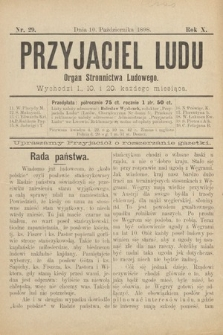Przyjaciel Ludu : organ Stronnictwa Ludowego. 1898, nr29