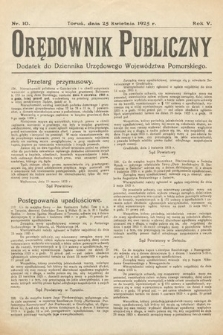 Orędownik Publiczny : dodatek do Dziennika Urzędowego Województwa Pomorskiego. 1925, nr10