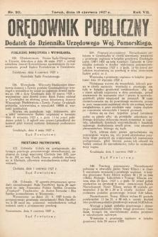 Orędownik Publiczny : dodatek do Dziennika Urzędowego Województwa Pomorskiego. 1927, nr20