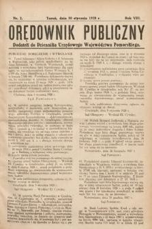 Orędownik Publiczny : dodatek do Dziennika Urzędowego Województwa Pomorskiego. 1928, nr2
